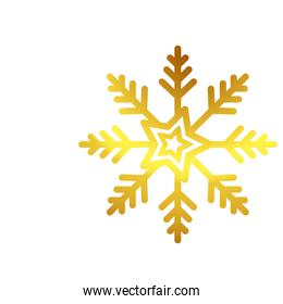 snowflake golden christmas isolated icon