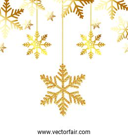 snowflakes golden of christmas hanging isolated icon