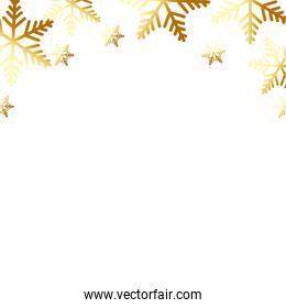 set of snowflake golden christmas isolated icon