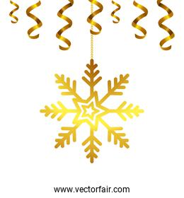 snowflake golden of christmas hanging isolated icon