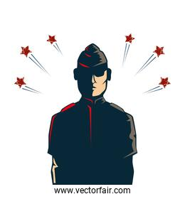 man soldier american with stars isolated icon