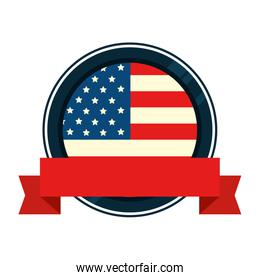 united states flag in frame circular with ribbon
