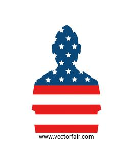silhouette of man soldier with united states flag