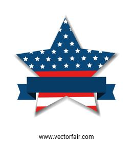 united states flag in star shape with ribbon
