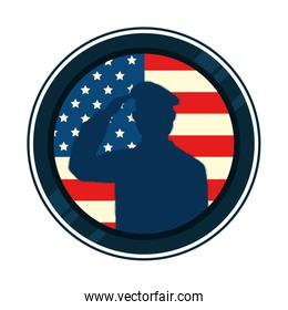 silhouette of man soldier with united states flag in frame circular