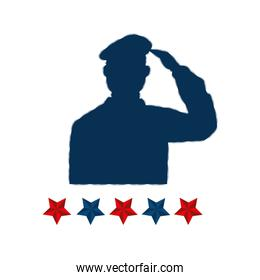 silhouette of man soldier american with stars