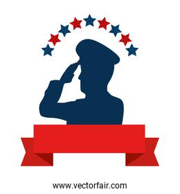 silhouette of man soldier american with stars and ribbon