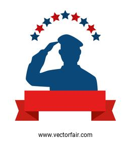 silhouette of american soldier with stars and ribbon