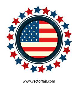 united states flag in frame circular with stars