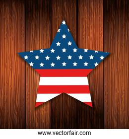 united states flag in star shape with background wooden