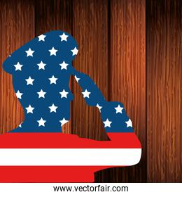 silhouette of man soldier with united states flag in background wooden