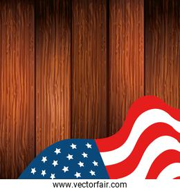 united states flag in background wooden