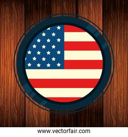 united states flag in frame circular with wooden background