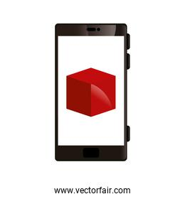 smartphone device with cube isolated icon