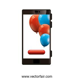 smartphone device with balloons helium