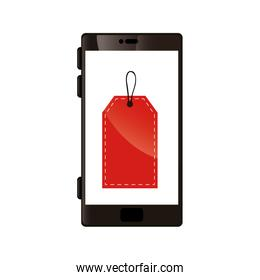 smartphone device with label commerce isolated icon