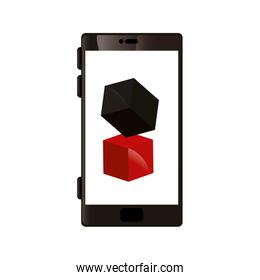 smartphone device with cubes isolated icon