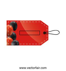 tag label commerce with balloons helium isolated icon