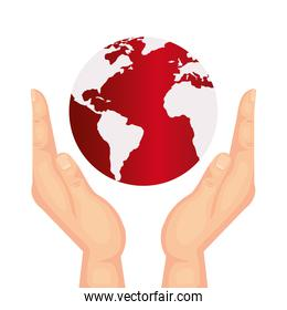 hands with world planet earth isolated icon