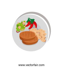 beef steak with vegetables in dish isolated icon