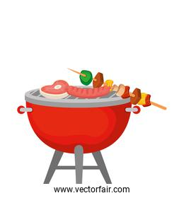 oven barbecue with food isolated icon