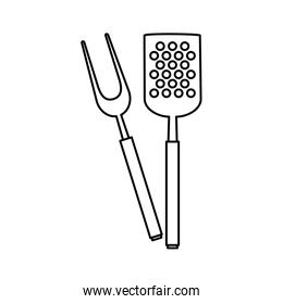 spatula with fork barbecue cutlery line style icons