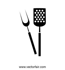 silhouette of spatula with fork barbecue cutlery tools