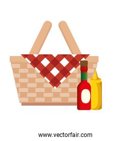 basket wicker picnic with bottles sauces isolated icon