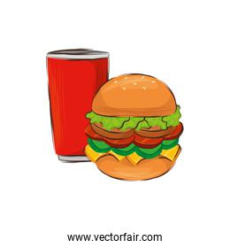 delicious hamburger with drink isolated icon