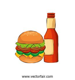 delicious hamburger with beer isolated icon