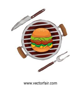 oven barbecue with hamburger isolated icon