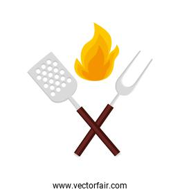spatula with fork barbecue and flame isolated icon
