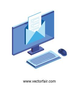 desktop computer with files isolated icon