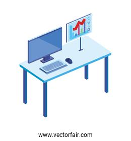 desktop computer in the workplace isolated icon