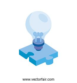 light bulb with puzzle piece isolated icon
