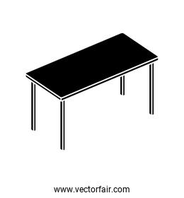 silhouette of table rectangle furniture isolated icon