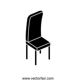 silhouette of wooden chair furniture isolated icon
