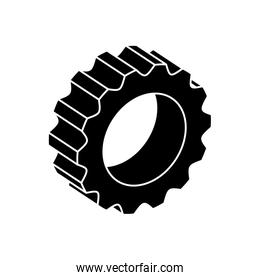 silhouette of gear pinion machine isolated icon