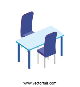 table rectangle with chairs isolated icon