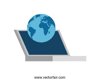 Isolated laptop and world vector design