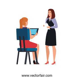 business women talking isolated icon