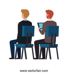 back businessmen sitting in chair isolated icon