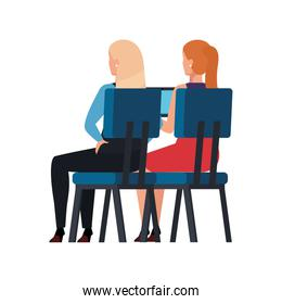 back business women sitting in chair