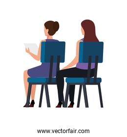 back business women sitting in chair isolated icon