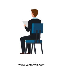back businessman sitting in chair isolated icon