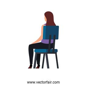 back business woman sitting in chair isolated icon