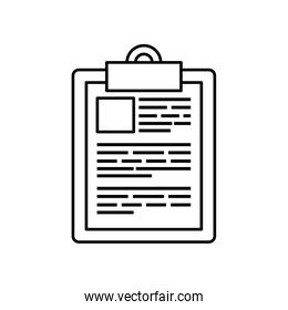 clipboard with paper document line style icon