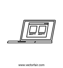 laptop computer with web page line style icon