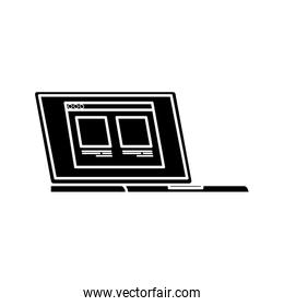 silhouette of laptop computer with web page isolated icon