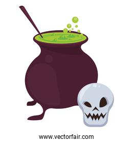 halloween witch cauldron with skull